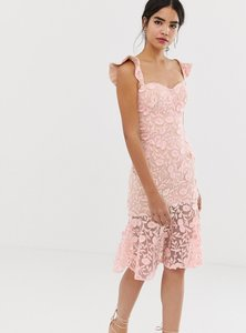 Read more about Jarlo all over lace embroidered midi dress with frilly off shoulder detail in pink