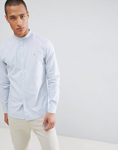 Read more about Farah steen slim fit textured grandad collar shirt in light blue - blue