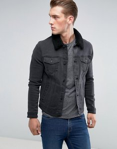Read more about Asos skinny denim jacket with borg collar in black wash - black