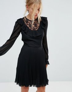 Read more about Elise ryan long sleeve skater dress with frill detail and pleated skirt - black