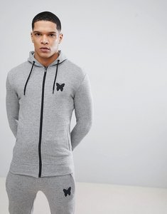 Read more about Good for nothing muscle hoodie in grey with logo - grey