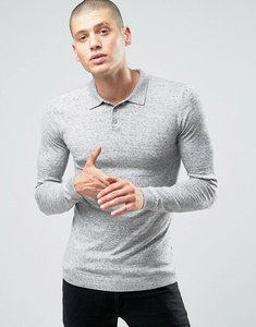 Read more about Asos knitted muscle fit polo shirt in grey - grey slub