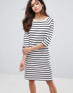 Read more about Selected natali 3 4 sleeve striped jersey shift dress - snow white