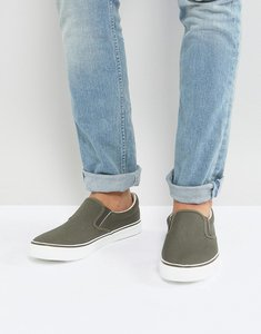 Read more about Brave soul slip on plimsolls in khaki - green