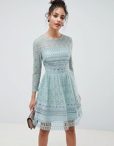 Read more about Asos design premium lace mini skater dress with long sleeves - mint green