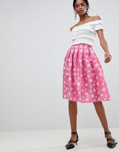 Read more about Liquorish polka dot pleated prom skirt - pink polka