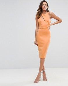 Read more about Asos scuba cut out neck asymmetric dress - peach