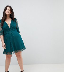 Read more about Asos curve dobby knot front lace trim mini skater dress - forest green