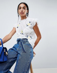 Read more about B young high neck embroidered blouse - off white