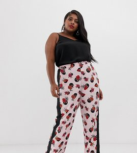 Read more about Neon rose plus wide leg trousers with side stripe in spot floral