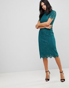 Read more about Club l detailed midi dress with lace overlay - teal