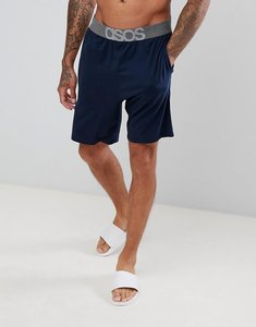 Read more about Asos design pyjama shorts in navy with branded waistband - navy