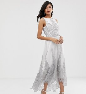 Read more about Chi chi london tall premium lace midi dress with dip hem in white