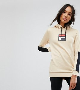 Read more about Fila tall hoodie with contrast logo detail - beige