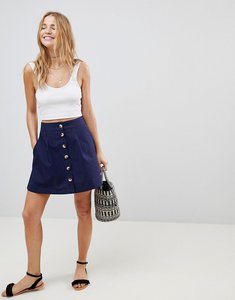 Read more about Asos cotton mini skater skirt with button front - navy