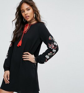Read more about Glamorous tall swing dress with embrodered sleeve detail - black