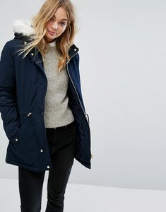 Read more about Oasis faux fur parka - navy