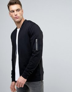 Read more about Asos jersey ma1 bomber jacket in black - black