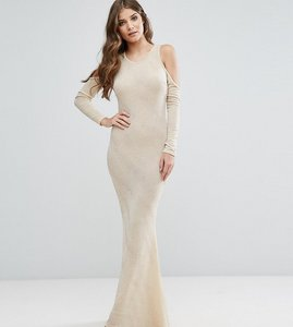 Read more about Club l cold shoulder maxi dress - nude gold lurex