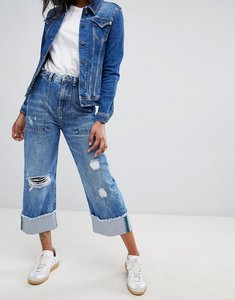 Read more about Pepe jeans wiser wash high rise straight leg jean with roll hem detail - wiser wash medium
