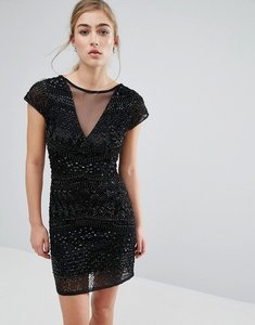 Read more about Miss selfridge geo beaded bodycon dress - black