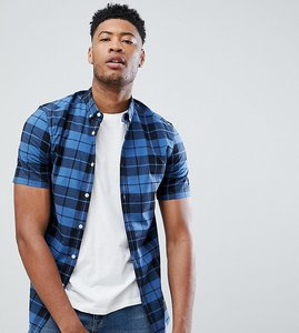 Read more about Asos design tall skinny check shirt in blue - blue