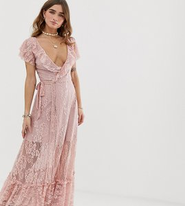 Read more about Sisters of the tribe lace maxi dress with leg split