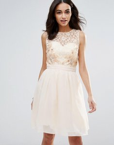Read more about Little mistress lace beaded prom dress - white