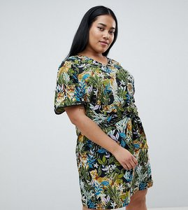 Read more about Junarose tropical print tie front dress - black