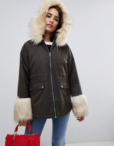 Read more about Asos parka with faux fur collar and cuff - khaki
