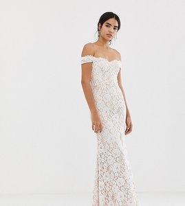 Read more about Jarlo all over lace bardot maxi dress in white