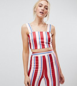 Read more about Fashion union tall crop top in stripe co-ord - red stripe