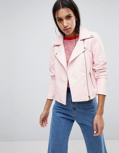Read more about Noisy may leather look biker jacket - pink