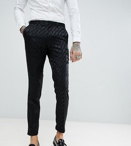 Read more about Heart dagger tuxedo skinny suit trousers in black - black