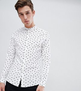 Read more about Asos design tall skinny smart work shirt with ditsy print and grandad collar - white