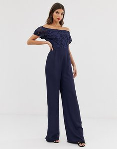Read more about Little mistress lace top bardot wide leg jumpsuit in navy