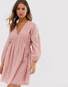 Read more about Asos design v front v back mini smock dress in texture with long sleeves