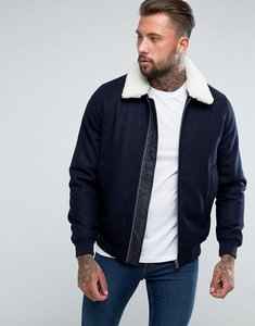 Read more about Asos wool mix harrington jacket with borg collar in navy - navy
