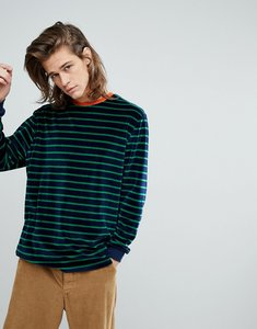 Read more about Asos oversized long sleeve stripe t-shirt in navy velour with contrast trim - navy