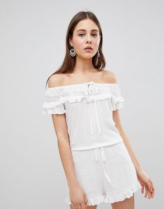 Read more about Brave soul candy playsuit with frill off shoulder - cream
