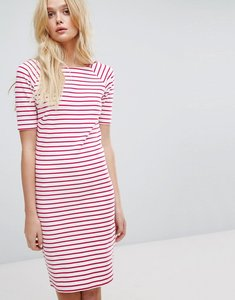 Read more about Tommy hilfiger denim stripe boatneck dress - bright white red