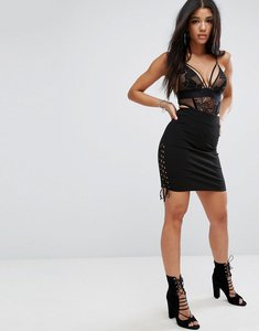 Read more about Glamorous ribbed bodycon pencil skirt with lace up sides - black