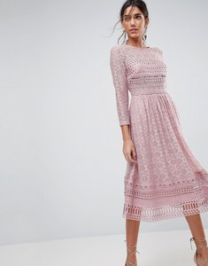 Read more about Asos premium lace midi skater dress - mink
