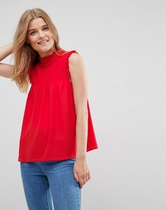Read more about Asos high neck blouse with shirred bib - red