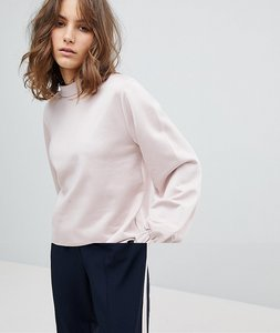 Read more about Selected femme sweatshirt with high neck and sleeve detail - pink