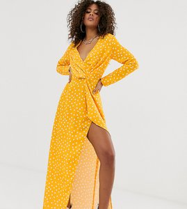 Read more about Missguided tall exclusive satin wrap dress with thigh split in yellow polka