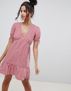 Read more about Asos design tiered cotton smock mini dress in gingham - multi