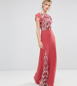 Read more about Maya tall embellished maxi dress with fluted sleeve - raspberry