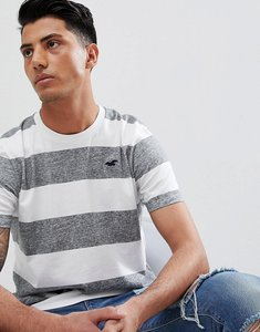 Read more about Hollister longline block stripe crew neck t-shirt seagull logo in grey white - grey white