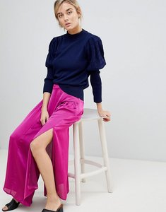 Read more about Lost ink maxi skirt in satin with split detail - purple